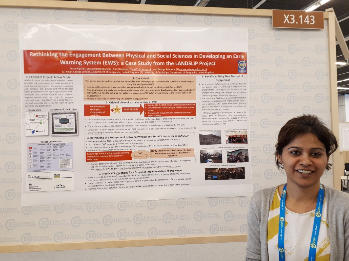 Anshu Ogra, from Kings College London, presents her poster on LANDSLIP's learning about interdisciplinary appraoches to developing a landslide early warning system