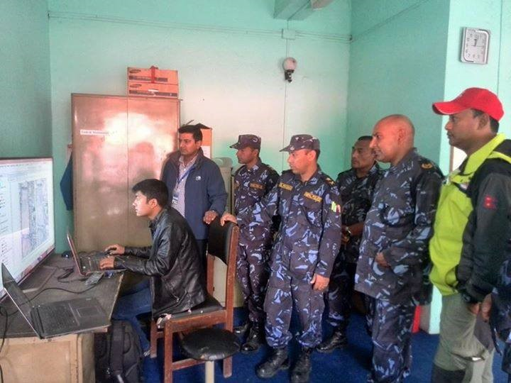 Gaurab working with Nepal police for search and rescue operation using latest satellite image of that time