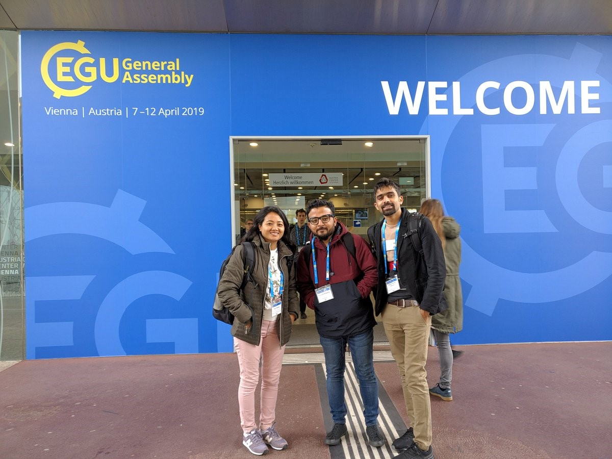 Landslide-EVO researchers arrive at EGU (L-R: Puja Shakya, Prakash Khadka and Binod Parajuli)
