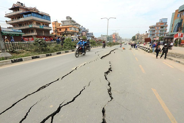 Road damage caused by the Nepal earthquake. Photo by UNDP