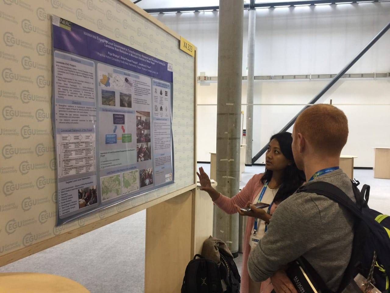 Puja Shakya, from Practical Action Consulting Nepal, presenting her poster on engaging local authorities in multi-disciplinary research